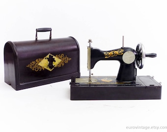 Vintage Bakelite Sewing Machine Toy W Case / Black Burgundy / Russian Sewing Machine Toy / Manual 50s