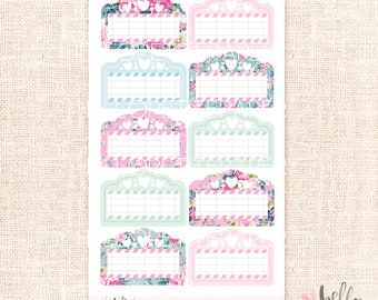 Movie Marquee - 10 cute floral planner stickers