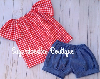 Farm Girl Shirt and Short Set Handmade Girls Clothing