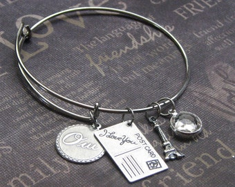 Silver Charm Bangle • Enchanted Paris • Adjustable Bracelet • Eiffel Tower • Postcard • Mother's Day • Valentine's Day • Gift