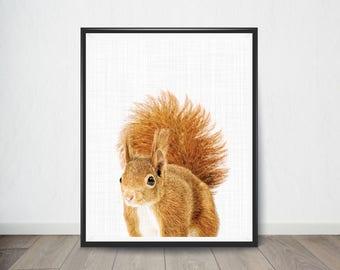Squirrel Print, Animal Nursery Wall Decor, Baby Animal Portrait, Nursery Print, Woodlands Nursery Decor, Printable Digital Download