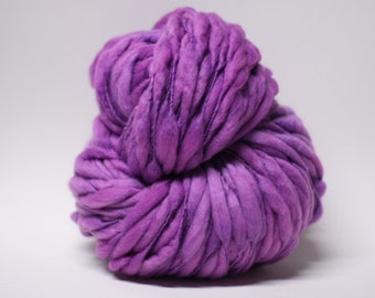 Super Bulky Handspun Merino Yarn Thick and Thin Wool Slub  tts(tm) Superfine Hand dyed Half-Pounder Purple Rain 02