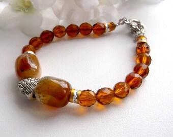 Brown agate bracelet, brown glass bracelet, czech glass bracelet, brown stone bracelet , for her, brownish bracelet, gemstone bracelet, gift