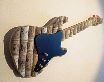 Fender Stratocaster Cork Guitar. Decorative and useful as a pin board/guitar made with wine corks, to hang on the wall, or not