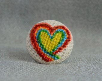 Heart ring, Cross stitch ring, Embroidered jewelry, Rainbow ring, Handmade ring, Rainbow heart, Round ring, Romantic jewelry, Gift for Her