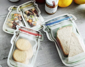 Gym Picnic Snack on the go Storage Bags [6 Pieces: 2 Large, 2 Medium, 2 Small]