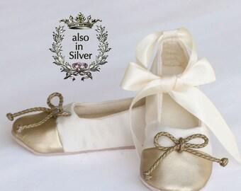 Gold and Ivory Satin Flower Girl Shoe, Little Girl Ballet Slipper, Ivory Baby Shoe, Toddler Ballet Flat, Ivory Gold Wedding shoe, Baby Souls