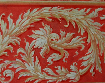 hand painted floral pattern, еgg tempera on paper