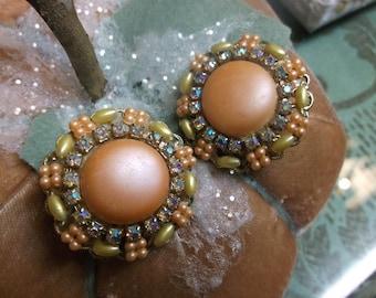 Faux Pearl Rhinestone Clip On Earrings