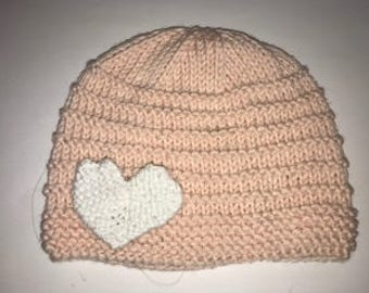 Hand knit toddler hat with heart