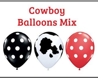 "Cowboy polka dot Print 11"" Balloons birthday party decorations black, cow print, red"