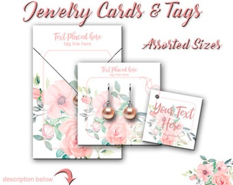 Jewelry Display Cards - Earring Cards - Watercolor Floral - Earring Display - Display Cards - Jewelry Tags - Product Cards - Tags - Card Set