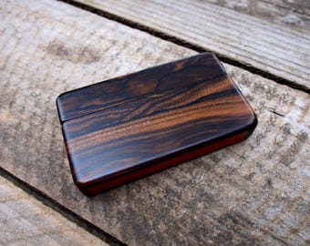 Wood wallet and business card holder, Ziricote