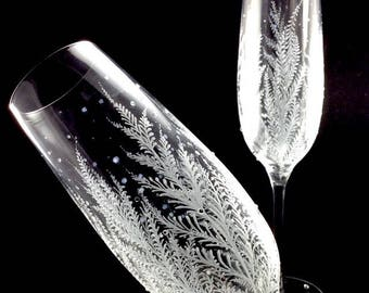 Engraved Wedding Toasting Flutes with optional personalization