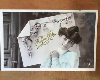 Vintage French Postcard - Bonne Fete - Happy New Year