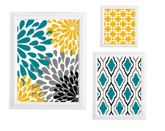 Collage Wall Art Gallery - Set of (3) - Prints - Custom CHOOSE your own size!!! Damask Yellow Teal Grey Black Art Wall unframed