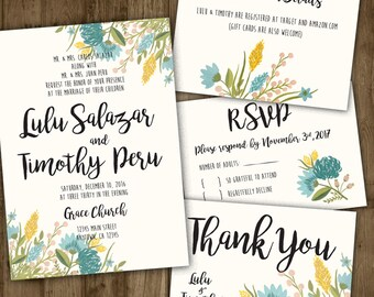 Wedding Invitation Set - Blue Watercolor Flowers