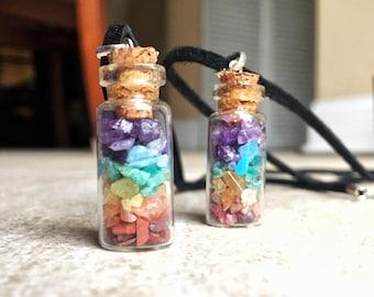 Chakra Crystals Bottle Necklace, Glass Bottle, Chakra Necklace, Healing Crystal Necklace, Yoga Gifts, Zen Gifts, Meditation Gifts, Chakras