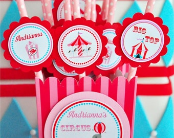 Carnival Straws, Personalized Striped Paper Straws, Carnival Birthday Party - Circus Birthday - Set of 12