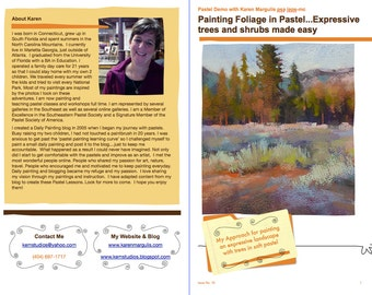 Pastel Painting Lesson Demo PDF Expressive TREES and SHRUBS Art Tutorial  booklet landscape,texture,home made surface