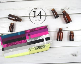Classic Essential Oil Bag - Steps Above - 14 bottles - cosmetic bag zipper pouch essential oil bag project READY TO SHIP