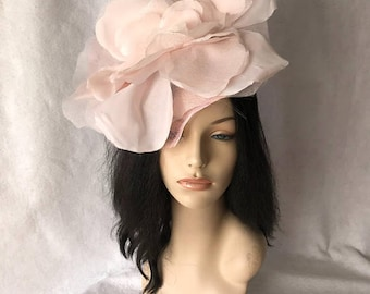 Blush Pink Kentucky Derby hat, Church hat fascinator, free shipping, ready to ship