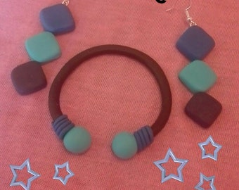 Set earrings + 3 colors of polymer clay