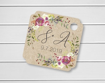 Penelope - Personalized Initials Wedding Favor Tags, Custom Wedding Favor Tags, Floral Wedding Hang Tags (MS-379-024-KR)
