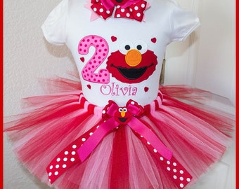 New Elmo  tutu Birthday outfit  Personalized with name Red and Pink Tutu