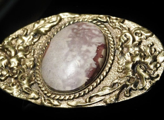 Vintage ODEN Ladies Belt Buckle / Brass Buckle / Jasper