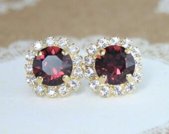 burgundy crystal earrings,marsala,marsala wedding,burgundy wedding,red wedding jewelry,burgundy earrings,swarovski earrings,crystal stud