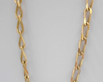"Vintage 26"" Chain Necklace (5104) Smooth & Ridged Gold Tone Metal"