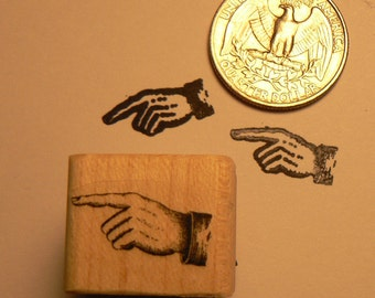 P24 Pointing finger rubber stamp miniature