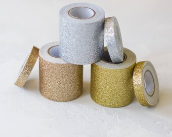 Glitter Tape Wide + Skinny Set - Rose Gold / Silver / Gold - 2 pc