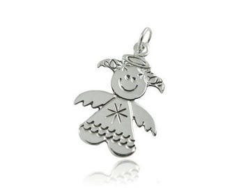 Handmade pendant sterling silver Angel is 2 cm hand - shaped pendant of guardian angel for girl 925 Silver wings and Halo