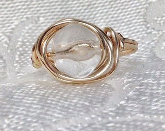 Clear Crystal Gold Beaded Wire Wrapped Ring
