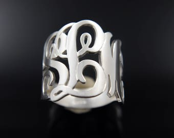Personalized Monogram Initials Ring .925 Sterling Silver