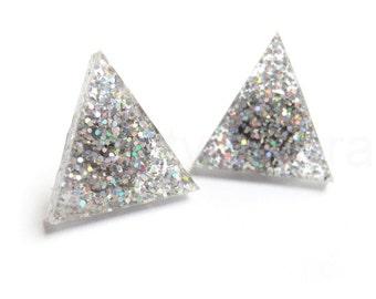 Holographic Triangle Earrings, Silver Glitter Earrings, Winter Wonderland, Glitter Jewelry, Sparkle Earrings, Triangle Geometric Jewelry