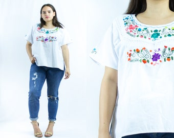 Embroidery Blouse - Handmade - Vintage - Mexican - Ethnic blouse - Large Size