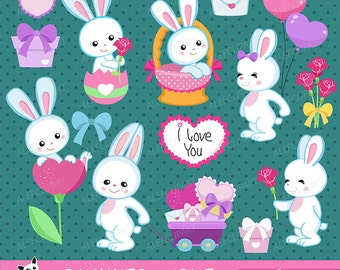 Bunnies in love - Digital Clipart Set, Bunnies Clipart, Valentine Clipart, Rabbits Clipart,Valentine Day.