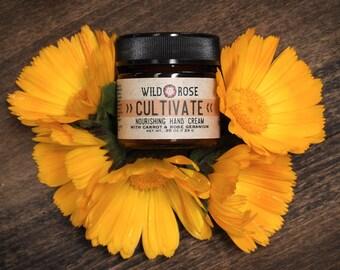 Hand Cream Balm Herbal CULTIVATE Calendula + Rose Geranium Moisturizing Spring 24g // .85oz