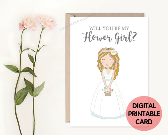 flower girl card printable will you be my flower girl, flower girl proposal, cute flower girl card