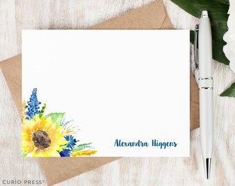 Personalized Flower Notecard Set / Flat Personalized Stationery For Her / Blue and Yellow Watercolor Stationary Note Card Set // SUNFLOWER