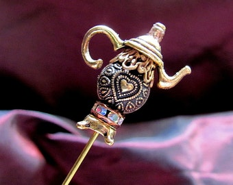 Golden Heart Bling Victorian Teapot Hat Pin, Miniature Tea Pot Pin