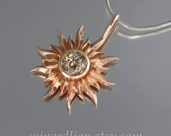 SUN 14k rose gold pendant with Morganite - Ready to ship