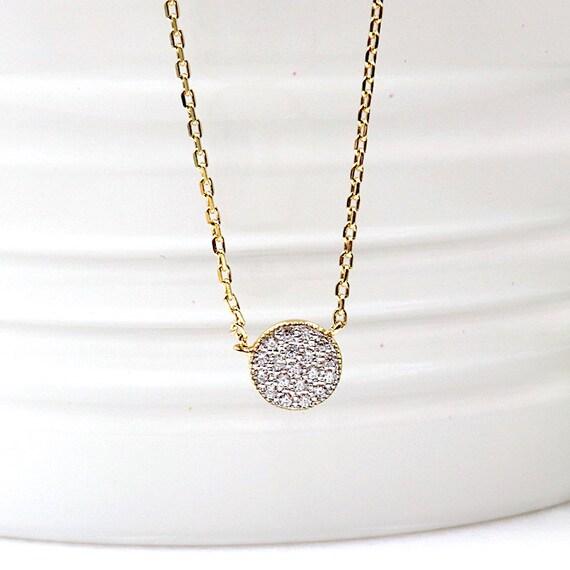 lozenge zircon women gold plated necklace