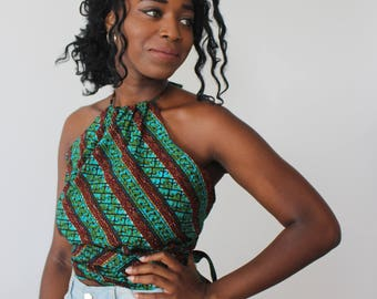 Top allacciato in Stoffa Africana/ Top in African Fabric
