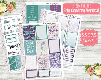 KT25 Dragonfly Days - EC VERTICAL Planner Sticker Kit - Dragonfly Stickers - ECLP Weekly Stickers - Monthly Kits - Monthly Stickers