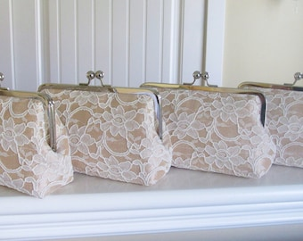 SALE 15% OFF Bridal Silk And Lace Clutch Set Of 4 Champagne Silk Ivory lace,Wedding Clutch,Bridesmaid Clutches,Bridal Accessories