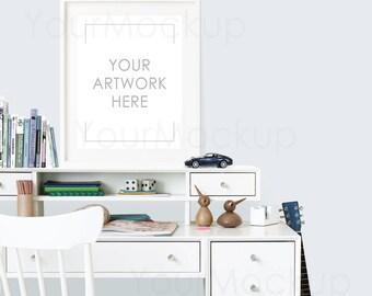 Boys room, Styled Frame Mockup, Poster mockup, White Frame, Kids room, Styled Photography Mockup, Mock-up, Digital Frame, Instant download